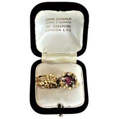 John Donald 18-Karat Yellow Gold & Diamond Brutalist Styled Wedding Ring Set