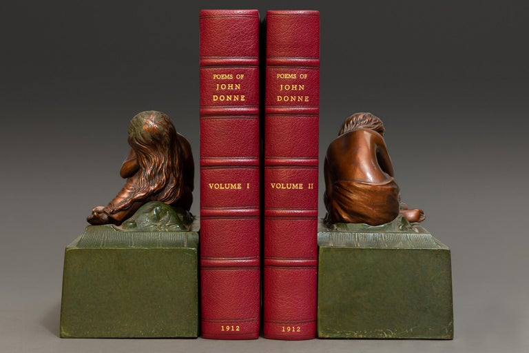"""2 Volumes.   Bound in 3/4 Wine Morocco, marbled boards, top edges gilt, raised bands, gilt panels.   Published: Oxford: Clarendon Press N.D. circa 1920. $l,800  Measures: H9"""", D 6"""", W 1 1/2""""."""