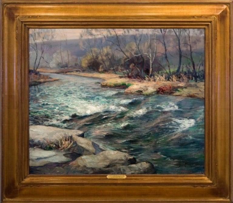 """John E. Berninger Landscape Painting - """"End of Winter"""""""