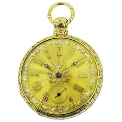 John E. Hyde London 18 Karat Solid Gold Keywinding Pocket Watch, circa 1840s