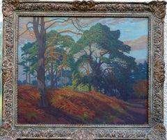 Richmond Royal Park - British 30's art oil painting London woodland landscape