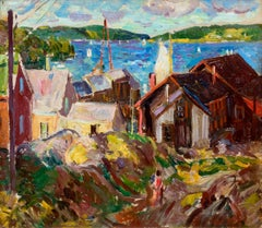 "American Impressionist Painting, ""Rockport"", Oil on Board, Fine Gold Leaf Frame"