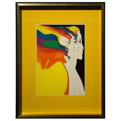 John Eastman Mid-Century Modern Art Print Faith Hope Love Abide Peter Max Era