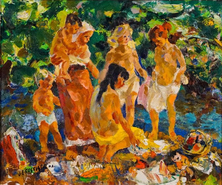 Bathers - Painting by John Edward Costigan