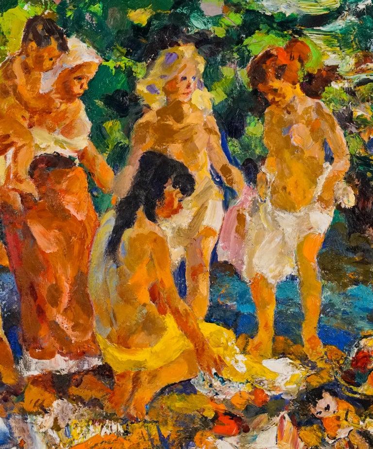 Bathers - Post-Impressionist Painting by John Edward Costigan