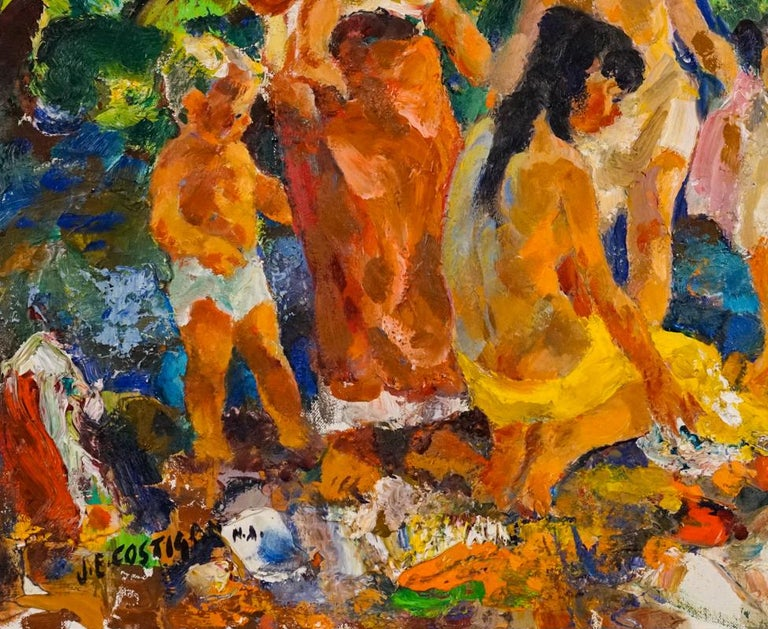 Bathers - Brown Figurative Painting by John Edward Costigan
