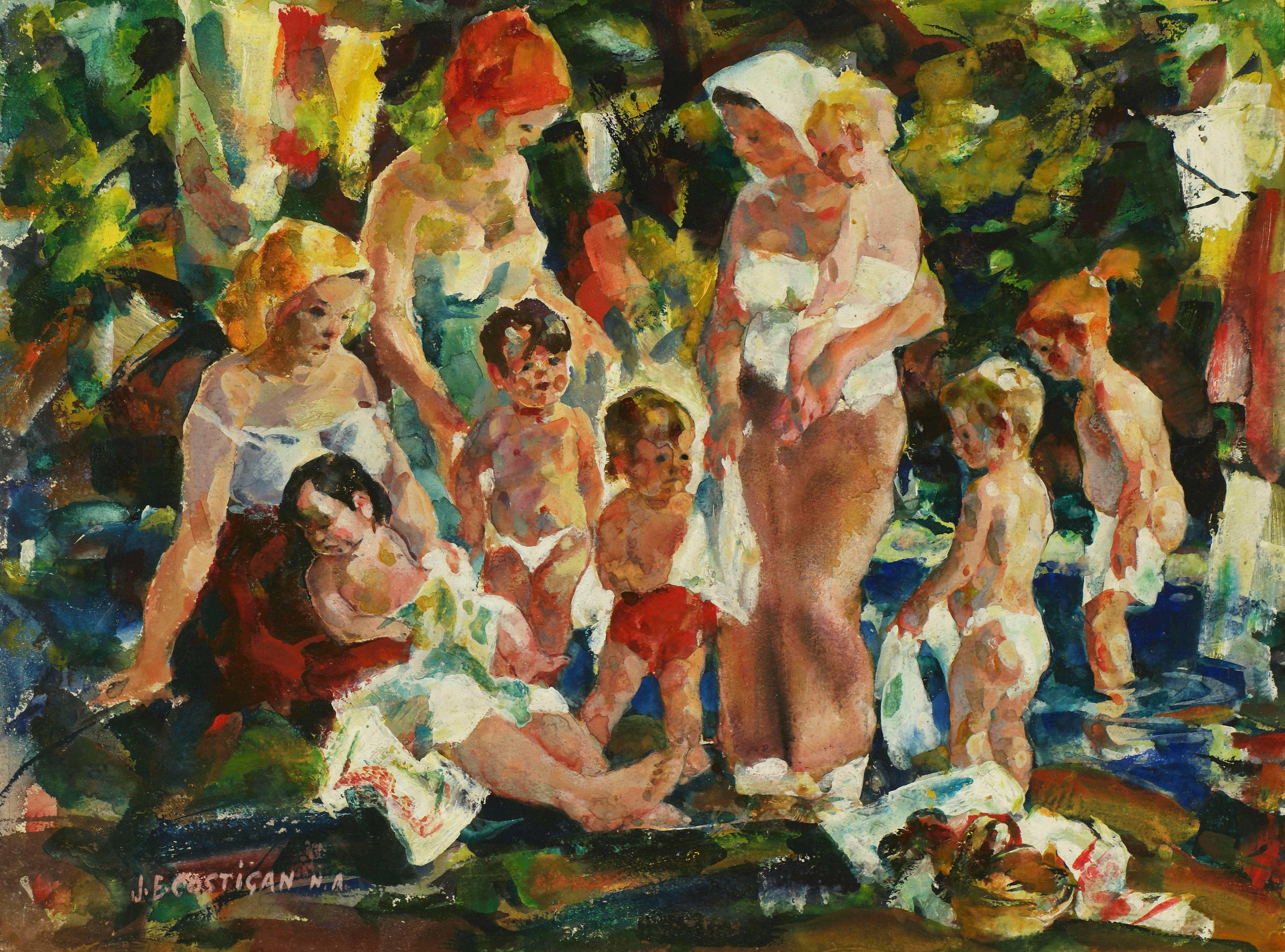 Mothers and Children at the Beach