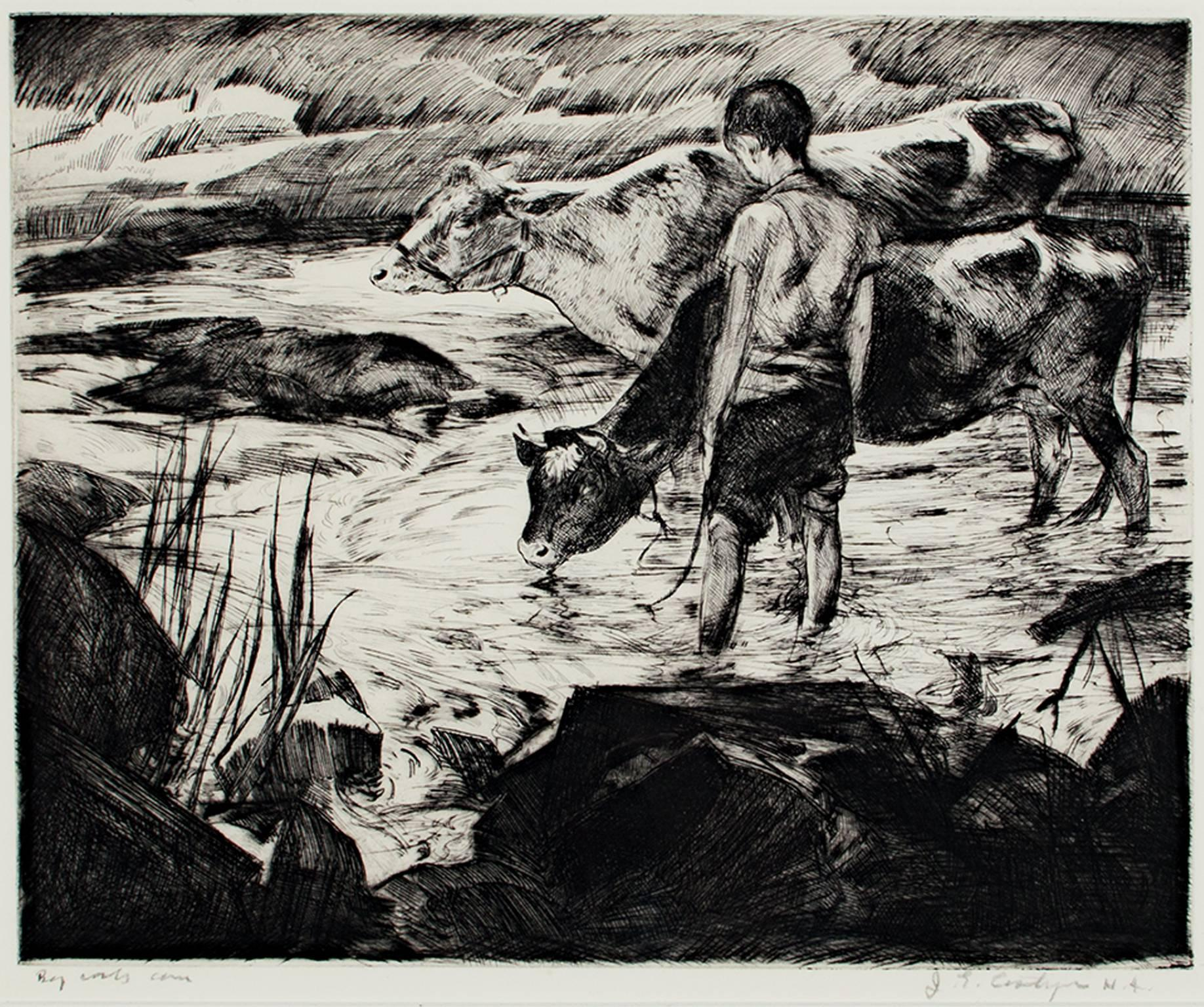 """""""Boy With Cows,"""" Original Drypoint Etching signed by John Edward Costigan"""