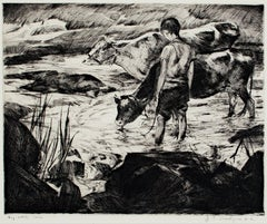 """Boy With Cows,"" Original Drypoint Etching signed by John Edward Costigan"
