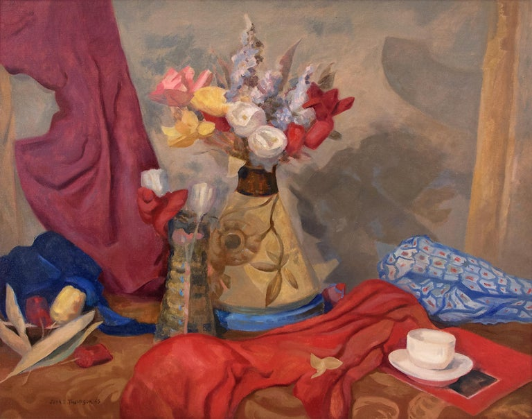 Untitled (Still Life with Flowers, Table and Drapery, Red, Yellow, Blue, Purple) - Painting by John Edward Thompson
