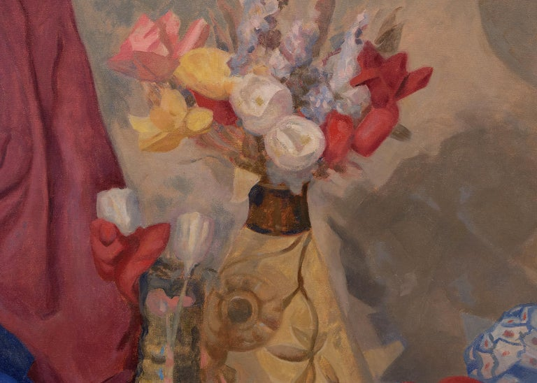 Untitled (Still Life with Flowers, Table and Drapery, Red, Yellow, Blue, Purple) - Brown Still-Life Painting by John Edward Thompson