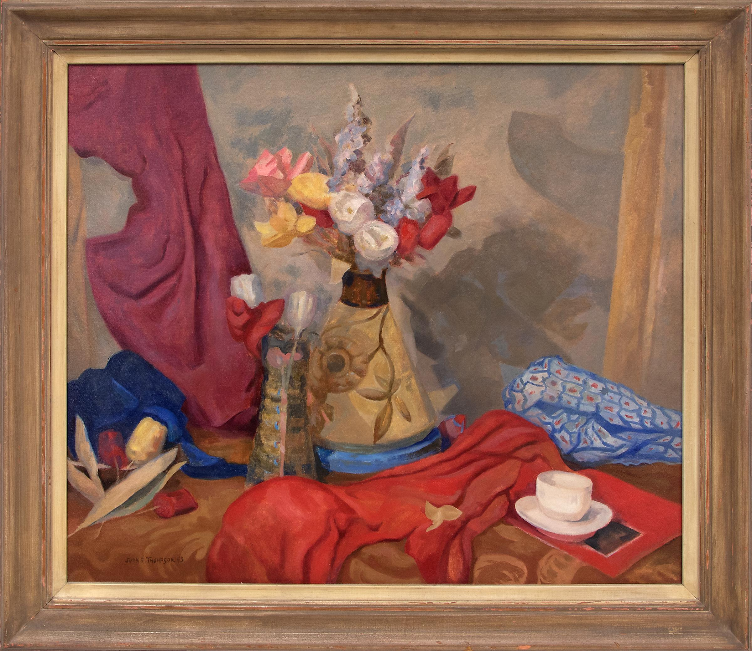 Untitled (Still Life with Flowers, Table and Drapery, Red, Yellow, Blue, Purple)