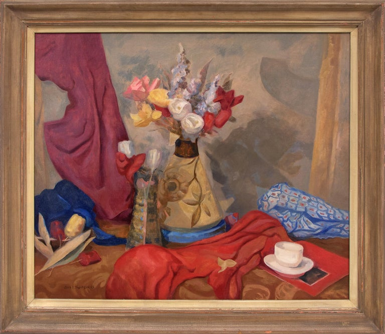 John Edward Thompson Still-Life Painting - Untitled (Still Life with Flowers, Table and Drapery, Red, Yellow, Blue, Purple)