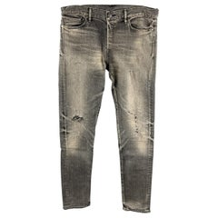 JOHN ELLIOTT Size 34 Black Distressed Cotton Button Fly Jeans