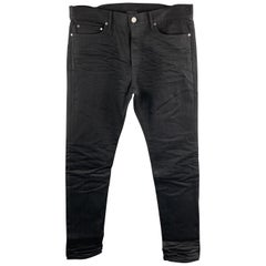 JOHN ELLIOTT Size 34 Black Solid Cotton Button Fly Jeans