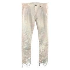JOHN ELLIOTT Size 34 x 34 Off White Distressed Cotton Button Down Jeans
