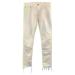 JOHN ELLIOTT Size 34 x 34 Off White / Green Distressed Cotton Button Fly Jeans