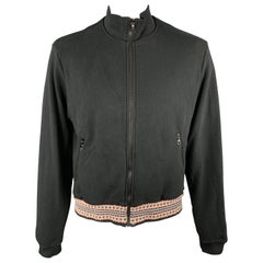 JOHN ELLIOTT Size L Black Cotton High Collar Trim Zip Pockets Zip Up Jacket