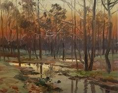 Antique Tonalist Sunset Autumn Woods painting w/ Creek Newcomb Macklin Frame