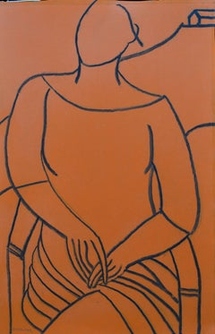 Orange Mono Figure: Contemporary Mixed Media Figurative Painting by John Emanuel