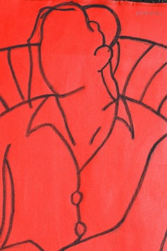Red Mono Figure: Contemporary Mixed Media Figurative painting by John Emanuel