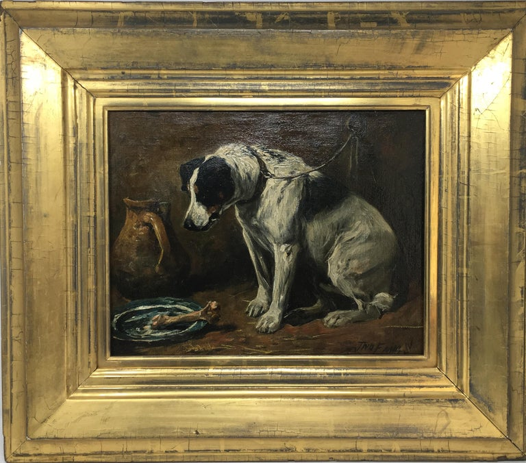 John Emms dog painting 'Dinner Time' - A Smooth Fox Terrier - Victorian Painting by John Emms