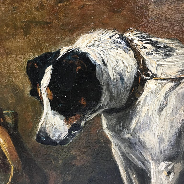 John Emms dog painting 'Dinner Time' - A Smooth Fox Terrier - Brown Animal Painting by John Emms