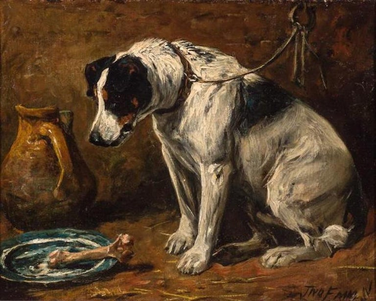 John Emms dog painting 'Dinner Time' - A Smooth Fox Terrier - Painting by John Emms