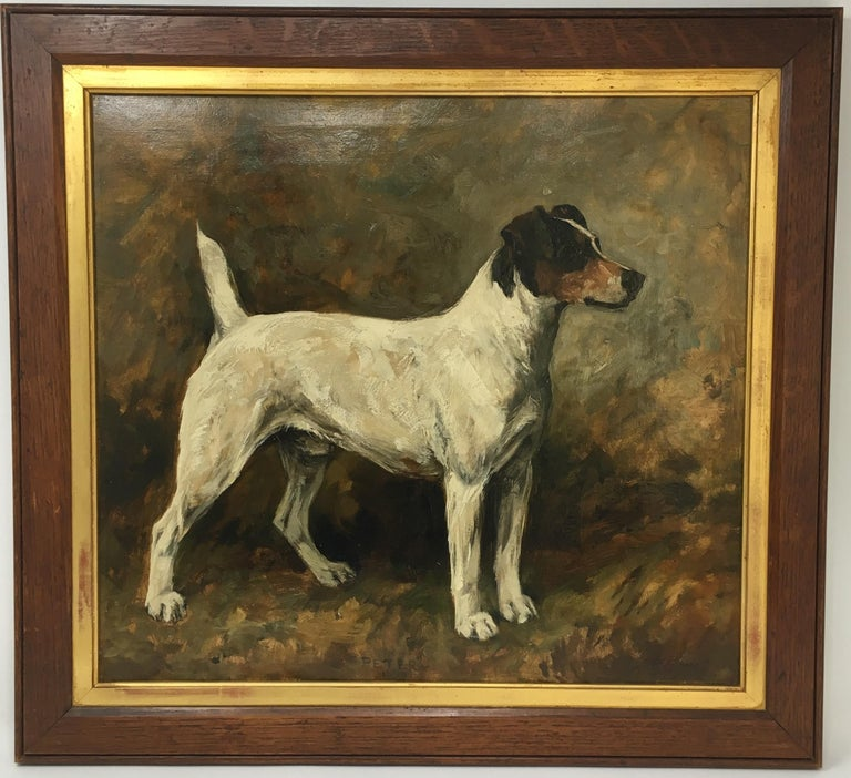 John Emms dog painting of 'Peter' a Fox Terrier - Victorian Painting by John Emms