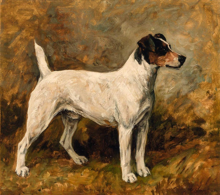 John Emms dog painting of 'Peter' a Fox Terrier - Painting by John Emms