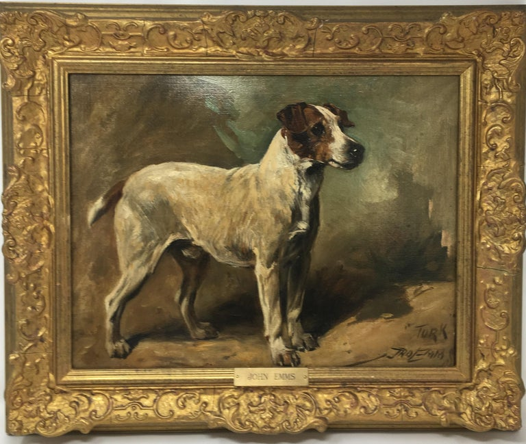 John Emms dog painting of 'Turk' A Jack Russell Terrier - Victorian Painting by John Emms
