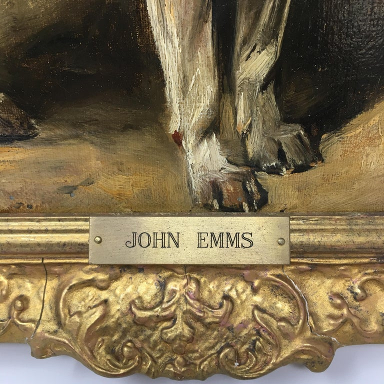 John Emms (Bristish, 1843 - 1912) 'Turk'  A Jack Russell Terrier Signed lower right 'Jno Emms' and inscribed 'Turk' 'John Emms' inscribed on brass name plate Oil on canvas 12in H x 15 1.2in L In gilt frame: 171/2in H x 21in L x 2 1/2in Provenance: