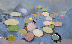 LATE ONE SEPTEMBER, botanic garden, lily pads, waterscape, blue, earth tones