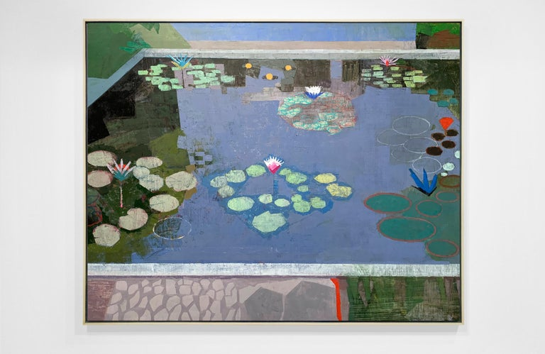 LIGHT IN LATER SEASON, Leaves in Water, Pool, Reflections, Blue, Botanical - Painting by John Evans