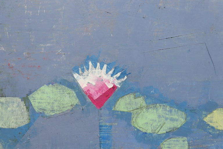 LIGHT IN LATER SEASON, Leaves in Water, Pool, Reflections, Blue, Botanical - Contemporary Painting by John Evans
