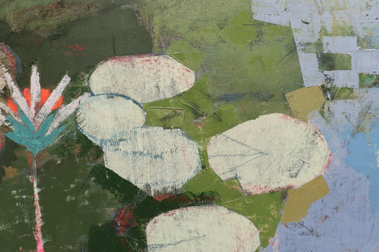 LIGHT IN LATER SEASON, Leaves in Water, Pool, Reflections, Blue, Botanical - Gray Abstract Painting by John Evans