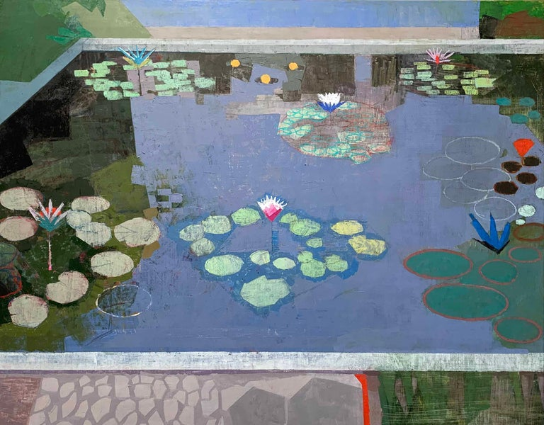 John Evans Abstract Painting - LIGHT IN LATER SEASON, Leaves in Water, Pool, Reflections, Blue, Botanical