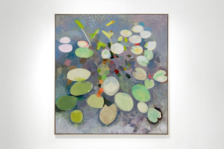 MANY LIVES, Water Lilies, Nature, Earth Tones, Botanic Gardens, Blue, Grey - Painting by John Evans