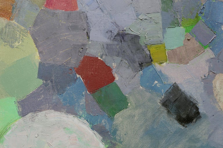 MANY LIVES, Water Lilies, Nature, Earth Tones, Botanic Gardens, Blue, Grey - Abstract Painting by John Evans
