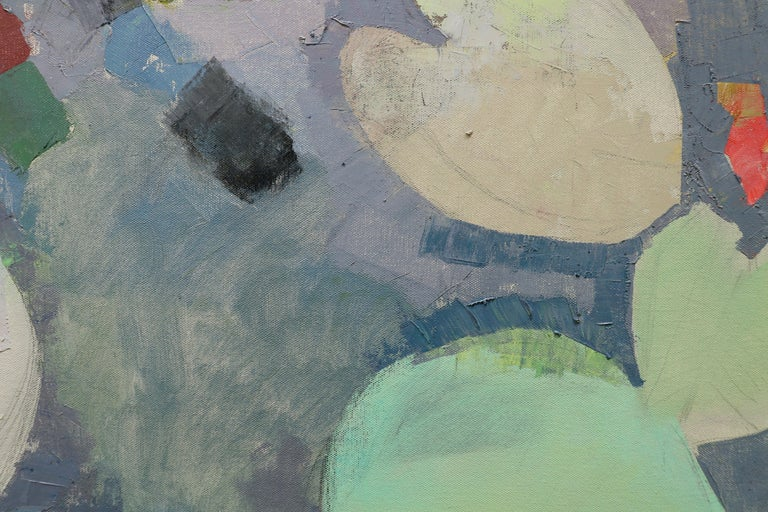 MANY LIVES, Water Lilies, Nature, Earth Tones, Botanic Gardens, Blue, Grey - Gray Abstract Painting by John Evans