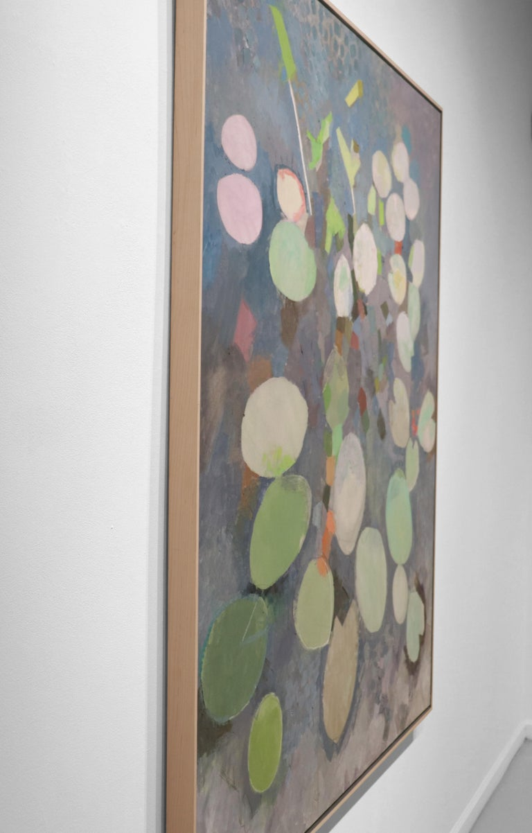 MANY LIVES, Water Lilies, Nature, Earth Tones, Botanic Gardens, Blue, Grey For Sale 1