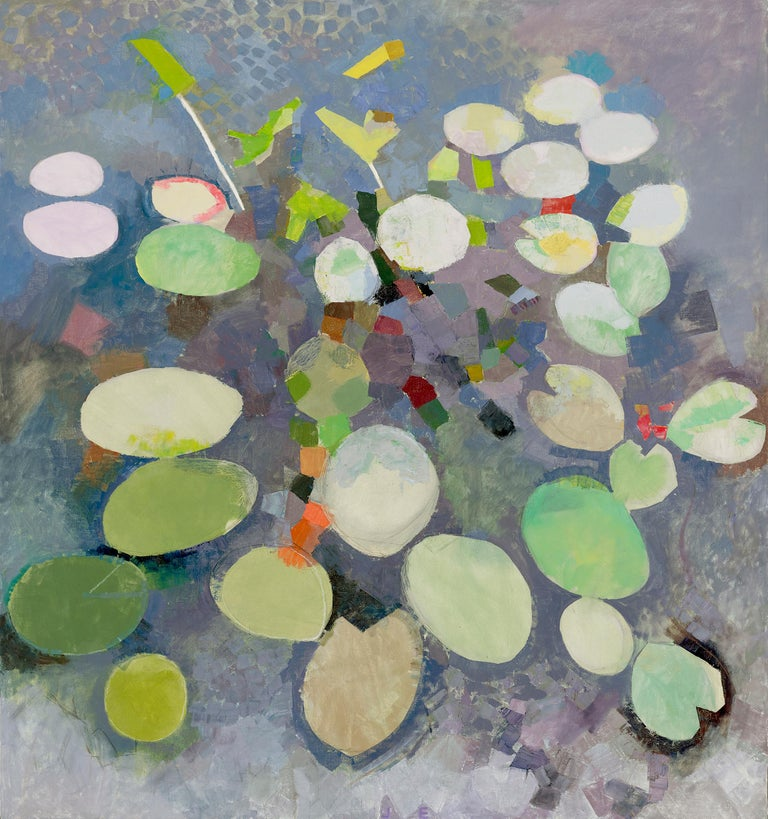 John Evans Abstract Painting - MANY LIVES, Water Lilies, Nature, Earth Tones, Botanic Gardens, Blue, Grey