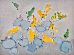 PARADE, bright colors, water lilies, blue, yellow, earth tones, black dots