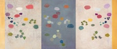 SILENT SYMPHONY (TRIPTYCH), large piece, waterscape, pond, abstract, lily pads