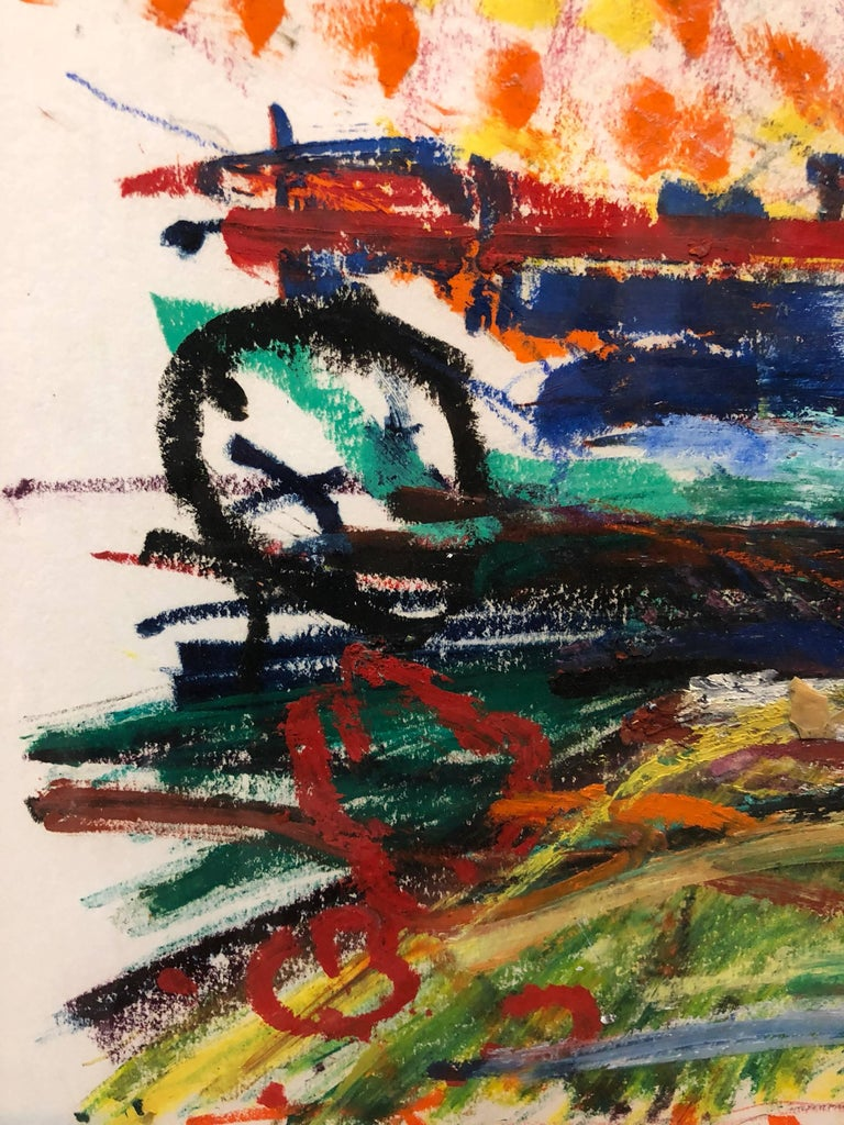 Untitled Abstract Landscape Oil Pastel Painting Figurative Abstraction For Sale 1
