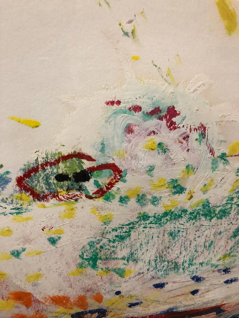 Untitled Abstract Landscape Oil Pastel Painting Figurative Abstraction For Sale 2