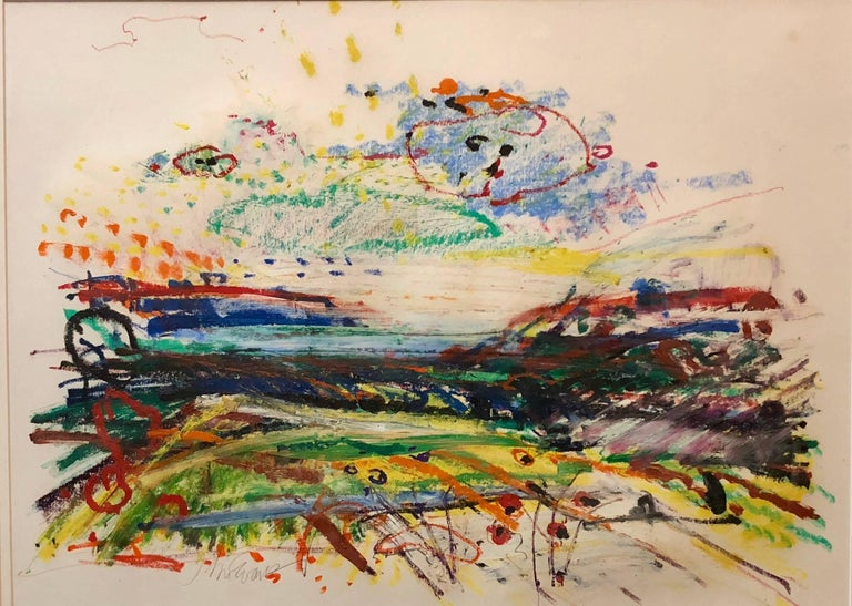 John Evans Abstract Painting - Untitled Abstract Landscape Oil Pastel Painting Figurative Abstraction