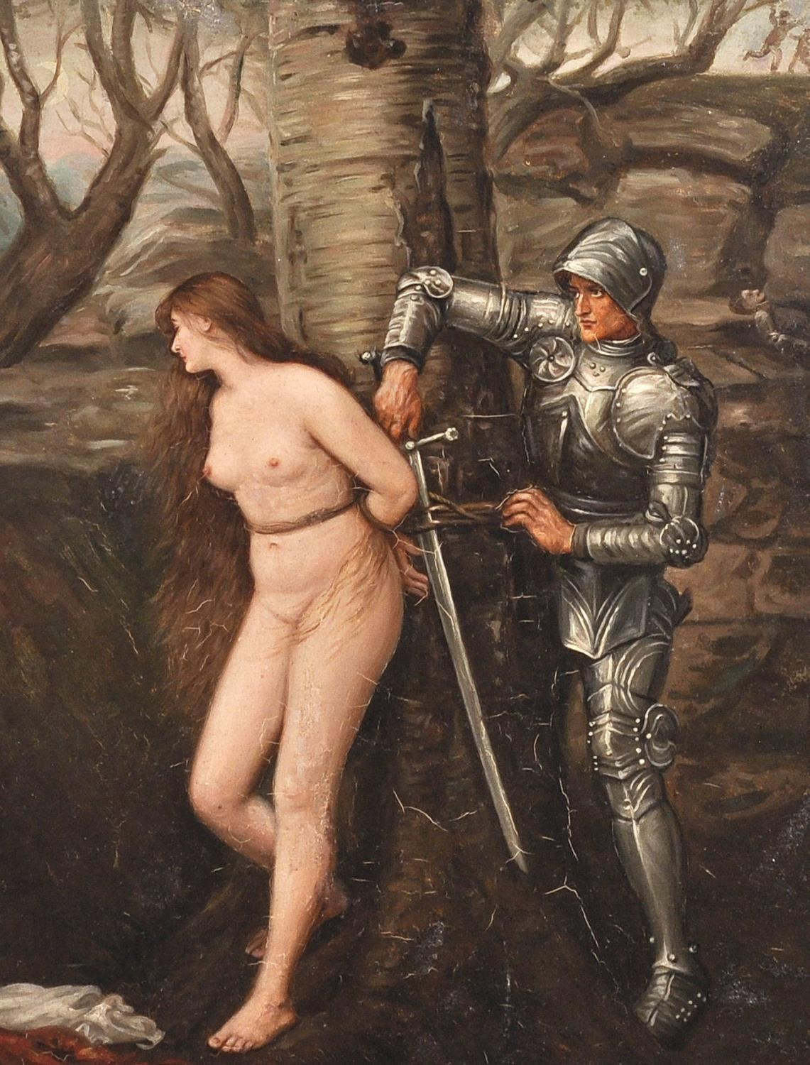 Antique English Oil Painting 'The Knight Errant' Pre-Raphaelite Nude & Knight