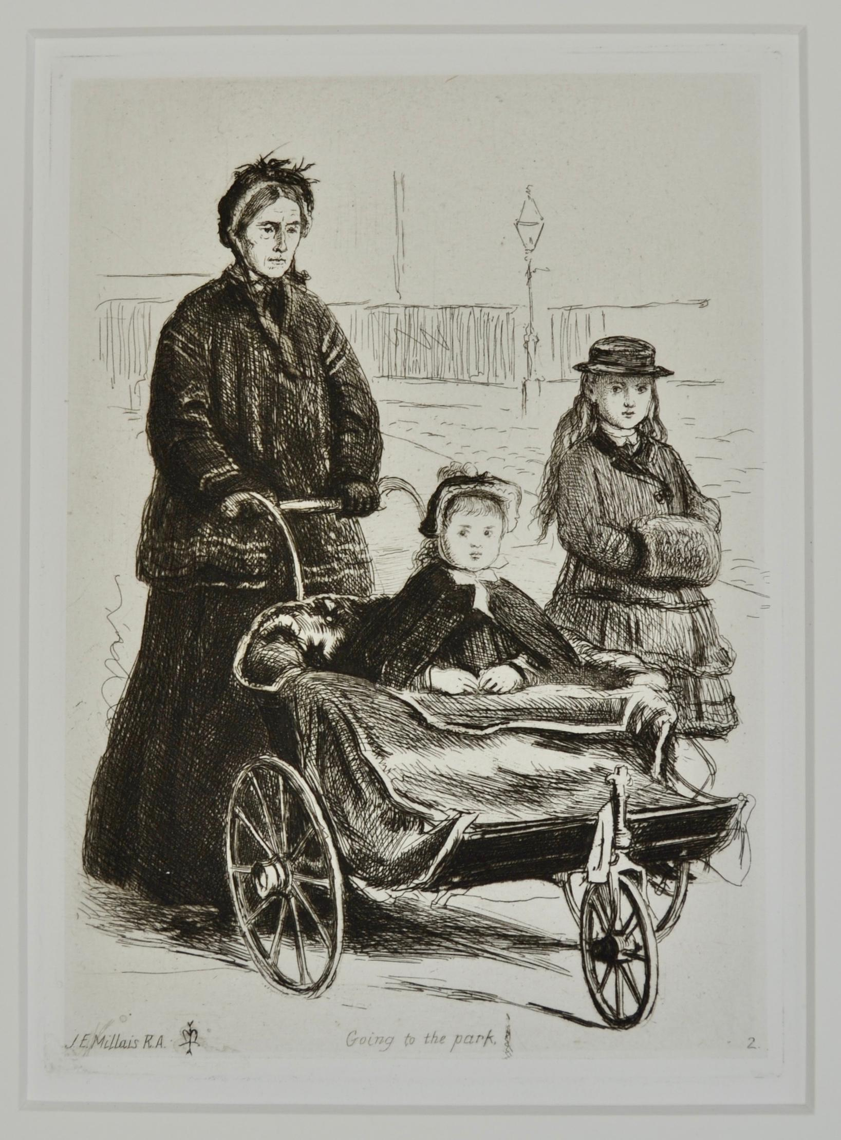 Going to the Park - Etching by Pre-Raphaelite artist Sir John Everett Maillais