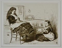 The Baby House - 19th Century etching by British Pre-Raphaelite artist